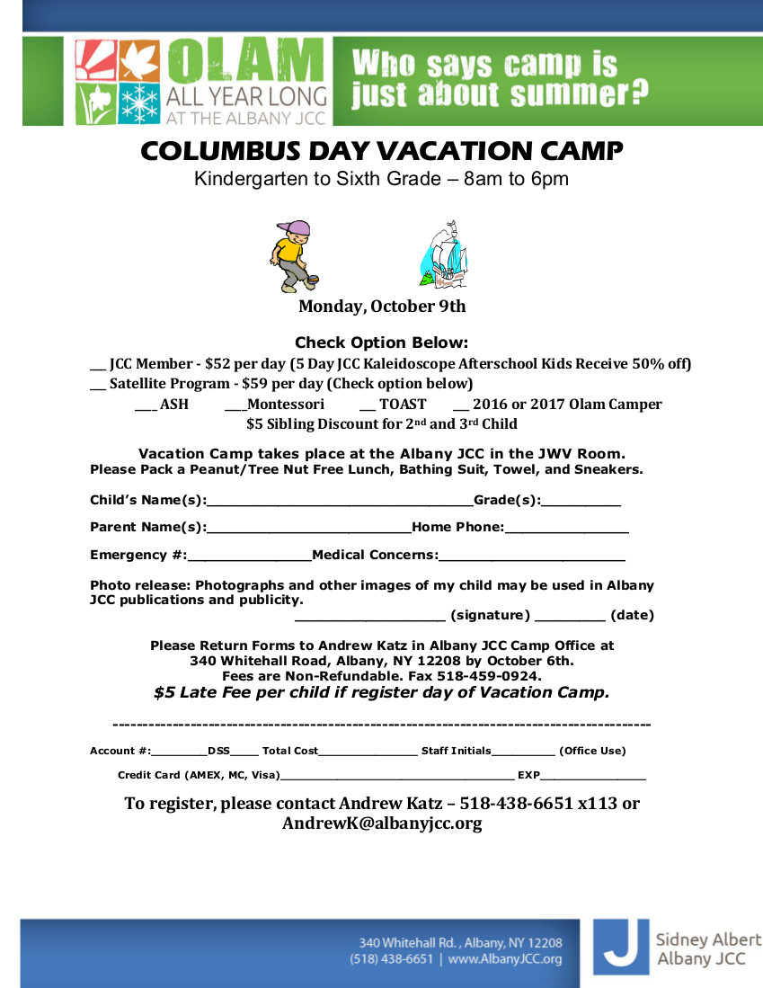 sidney albert albany jcc columbus day vacation camp